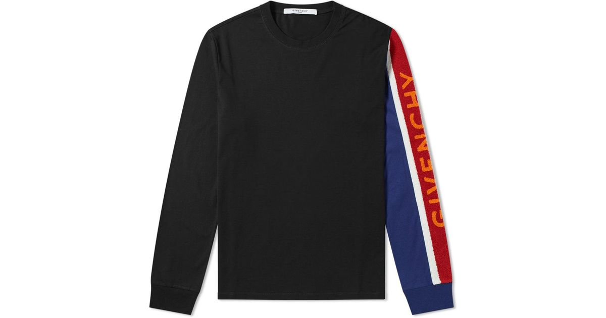 8d2f5b5a Givenchy Long Sleeve Towelling Logo Tee in Black for Men - Lyst