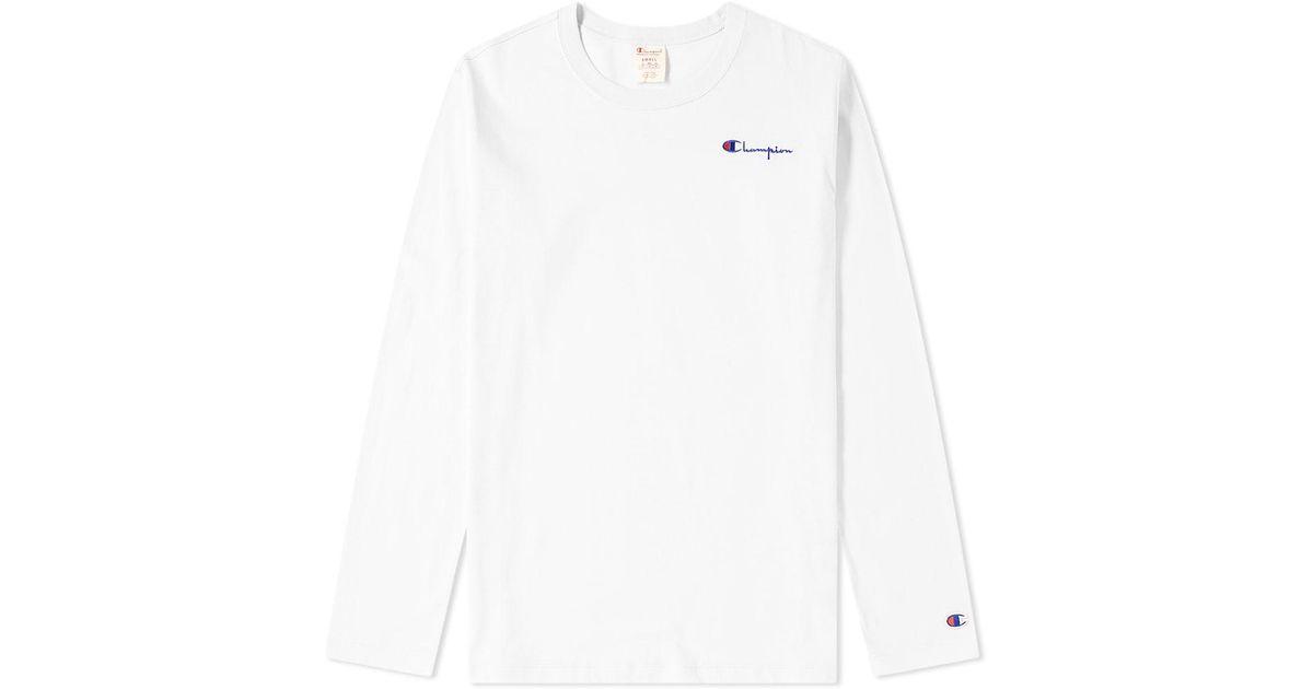 59c2b0210585 Lyst - Champion Women s Long Sleeve Logo Script Tee in White