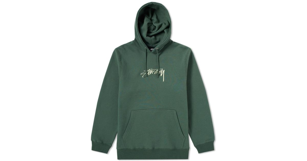 a77d5d8f99 Stussy Green Smooth Stock Applique Hoody for men