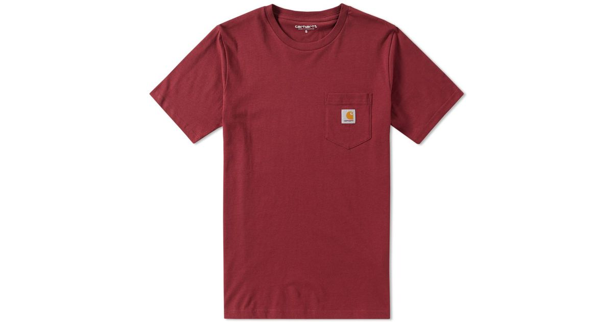 Lyst carhartt wip pocket tee in red for men for Carhartt burgundy t shirt