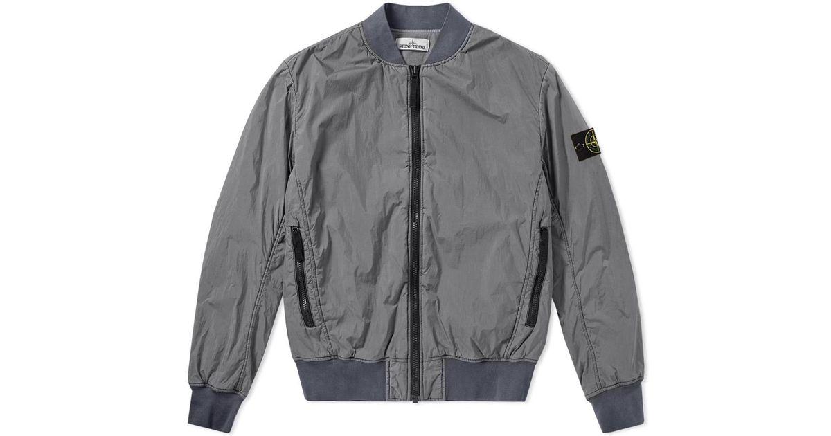 58ff2928b Stone Island Gray Garment Dyed Crinkle Reps Bomber for men