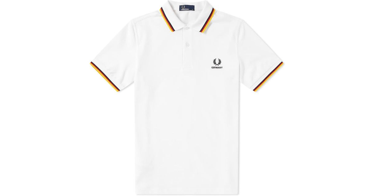 lyst fred perry authentic fred perry germany country polo shirt in white for men. Black Bedroom Furniture Sets. Home Design Ideas