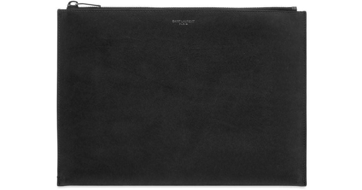 dcfab3da37 Saint Laurent - Black Smooth Leather Tablet Holder for Men - Lyst