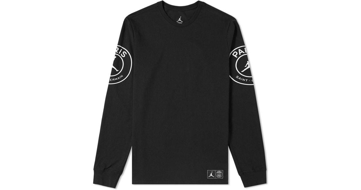 84e9fd29747 ... Jersey Source · Lyst Nike Jordan X Paris Saint germain Long Sleeve Tee  in Black