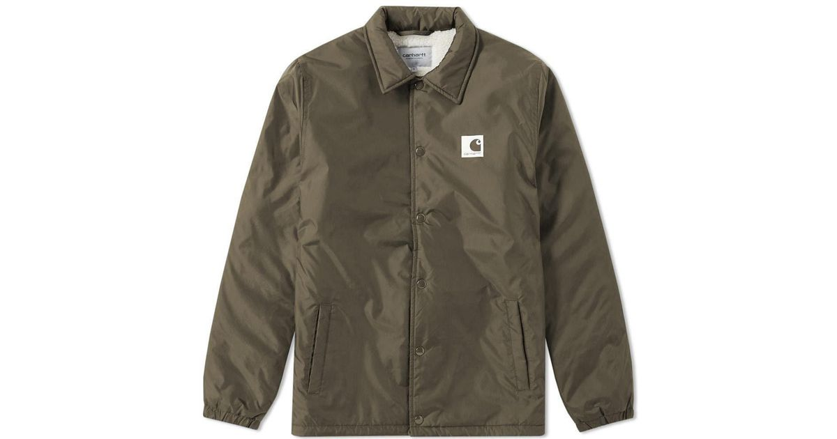 details for new design classic styles Carhartt WIP Green Sports Pile Coach Jacket for men