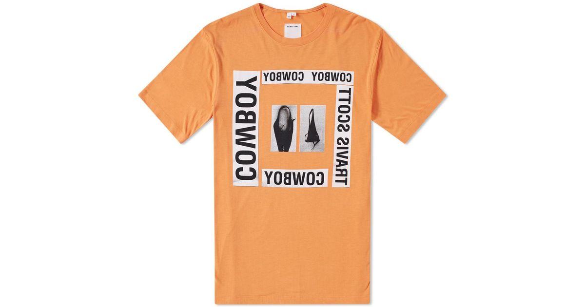 92734dade0e1 Helmut Lang X Travis Scott Cowboy Square Print Tee in Orange for Men - Lyst