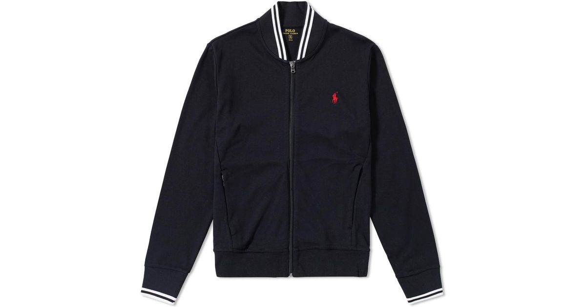8488a26e9bf Lyst - Polo Ralph Lauren Tipped Jersey Bomber Jacket in Black for Men