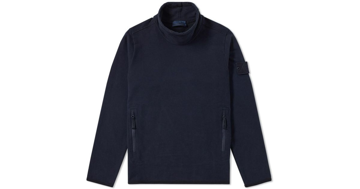 Lyst Stone Island Garment Dyed Ghost Mock Neck Sweat In Blue For Men