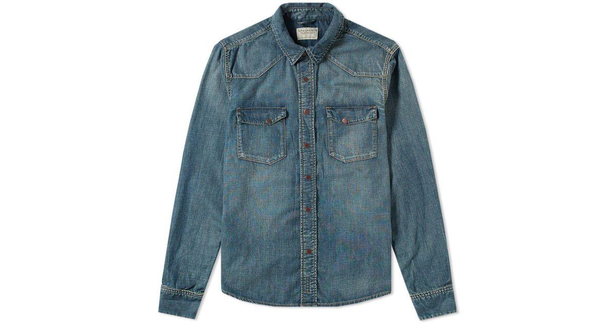 40f25274d1d Nudie Jeans Nudie Jonis Denim Shirt in Black for Men - Lyst