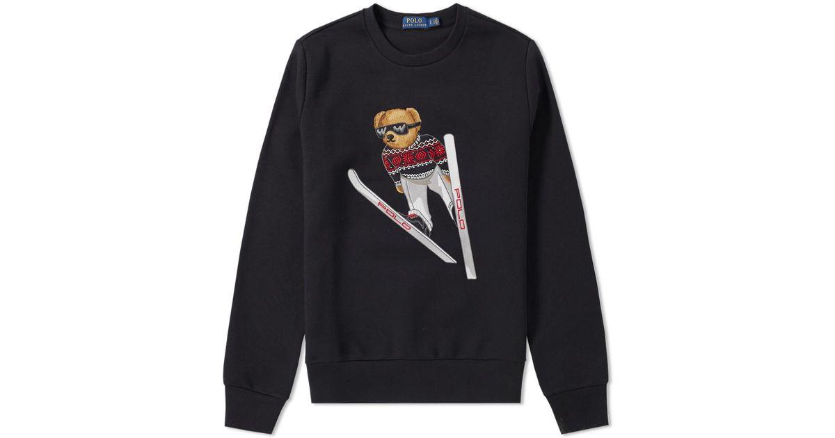 Ralph Lauren For Polo Ski Sweat Men Black Bear Yyvb76gf