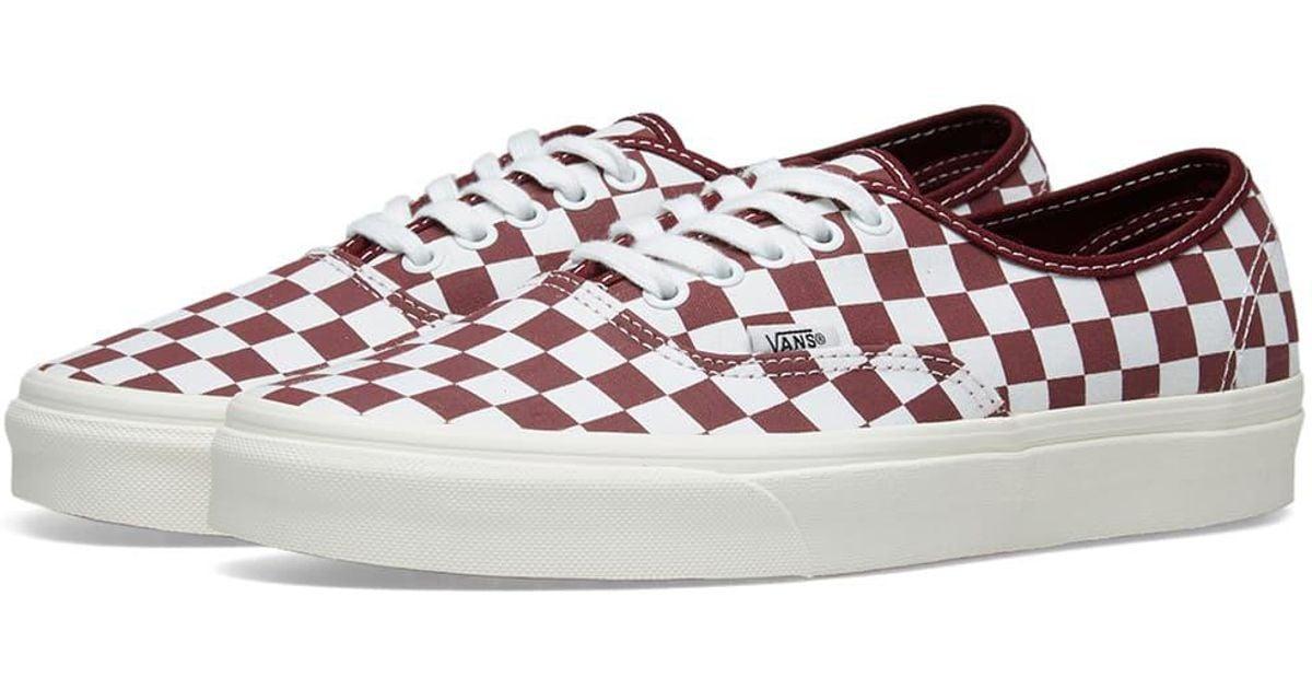 checkerboard vans burgundy