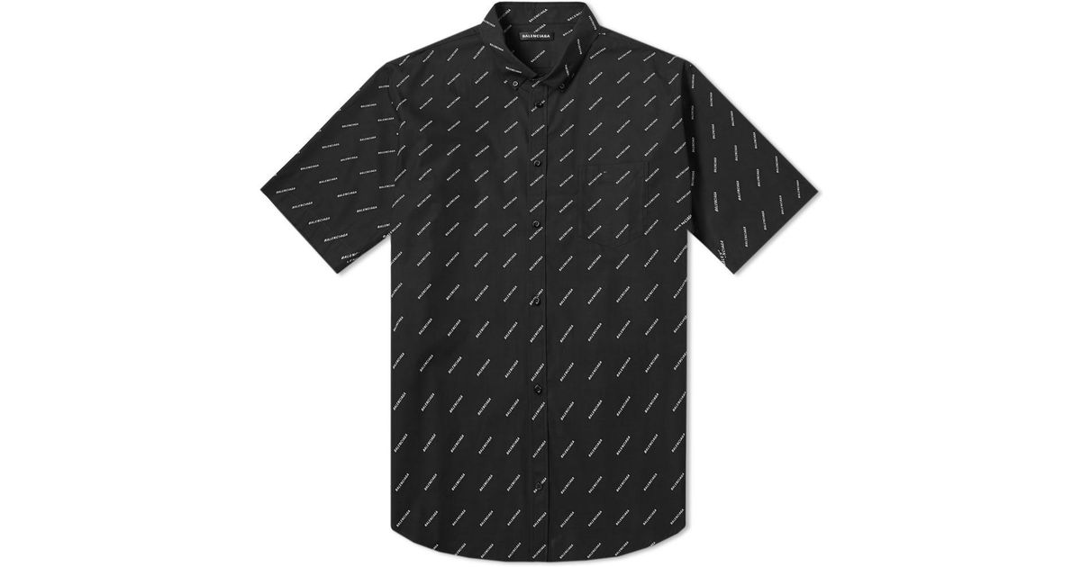 afb77993c168 Balenciaga Black And White Logo Normal Fit Shirt in Black for Men - Save  30% - Lyst