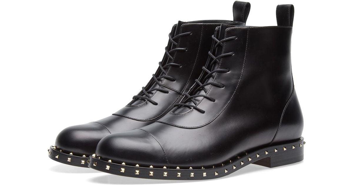 82e9823a436 Valentino Soul Rockstud Combat Boot in Black for Men - Lyst