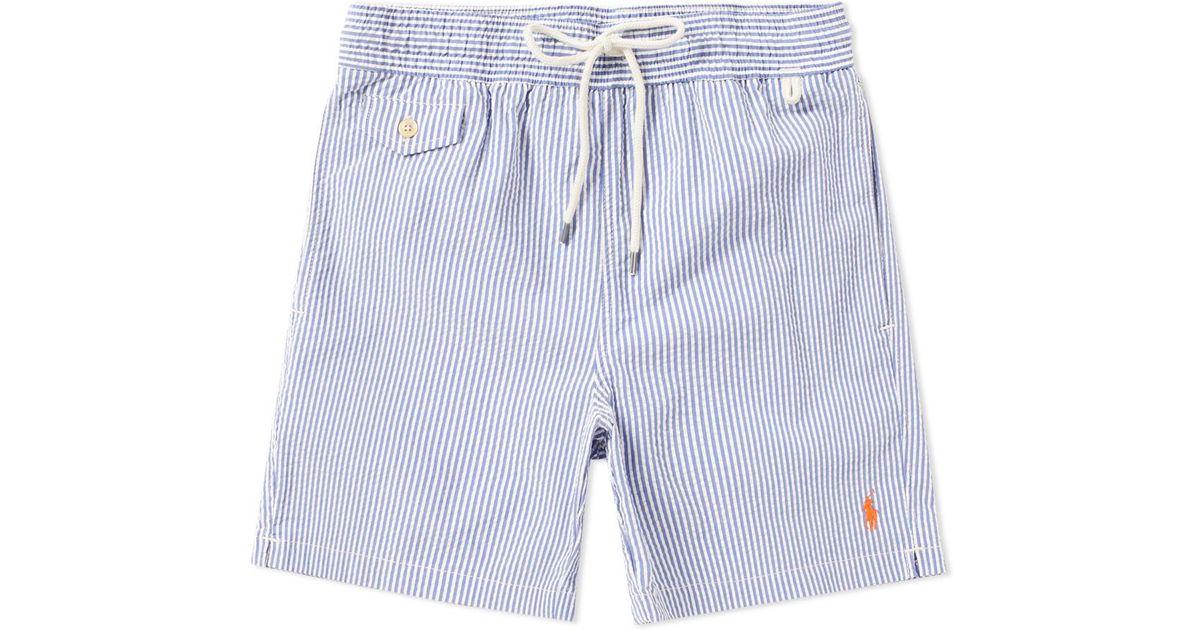 48a2a3c450 ... shorts blue stripe 15474 98c0f 51bac; promo code for lyst polo ralph  lauren seersucker traveller swim short in blue for men save