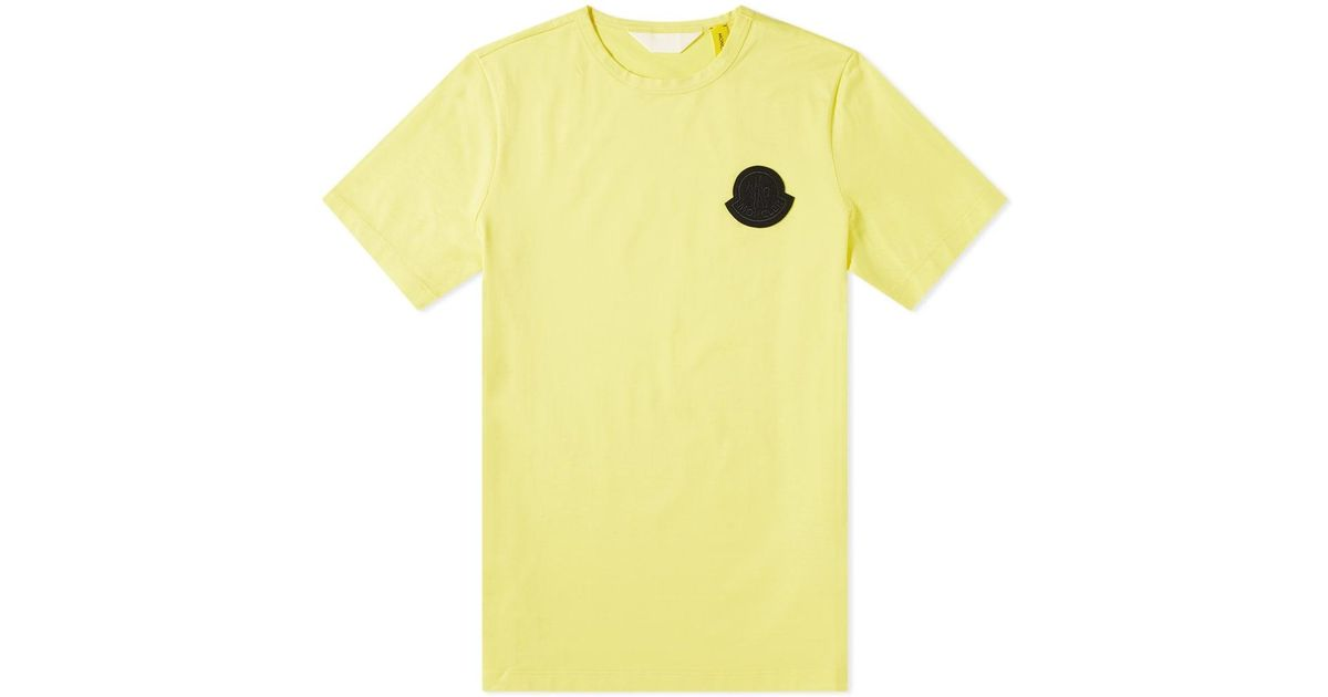 97f89937 Moncler Genius - 2 Moncler 1952 - Contrast Logo Patch Tee in Yellow for Men  - Lyst