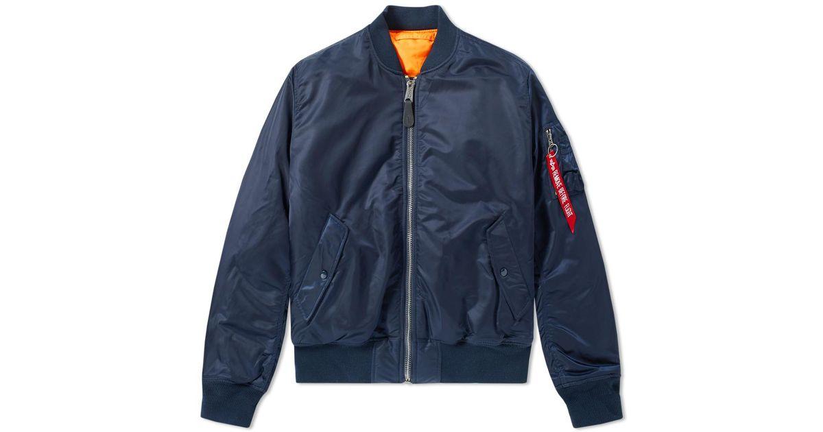 lyst alpha industries classic ma 1 jacket in blue for men. Black Bedroom Furniture Sets. Home Design Ideas