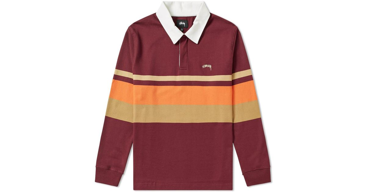 e08a4a9969dc Stussy Lucas Stripe Rugby Shirt in Red for Men - Lyst