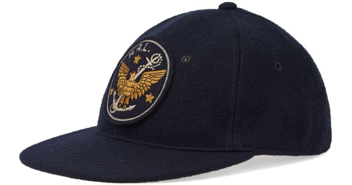 6c58ed44c342b RRL Logo-embroidered Wool-blend Baseball Cap in Blue for Men - Save 1% -  Lyst
