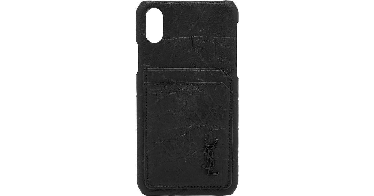 pretty nice d8cfd 3c59b Saint Laurent Black Ysl Metal Logo Iphone X Case for men