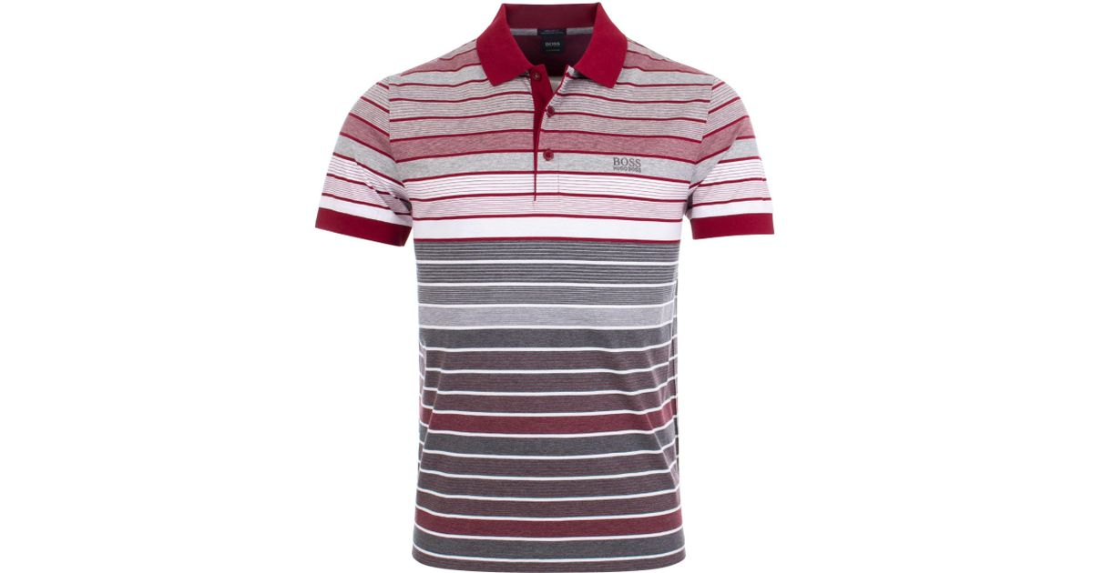 16287267f BOSS Paddy 3 Multi Striped Mercerised Polo for Men - Lyst