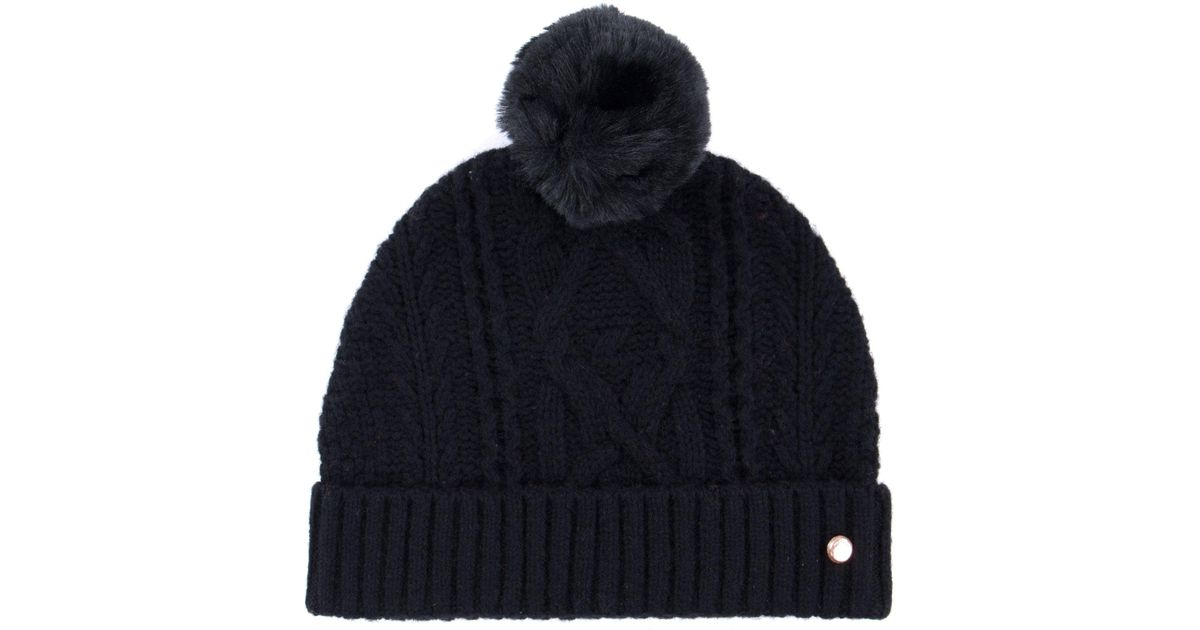 Ted Baker Kyliee Bobble Hat in Black - Lyst 59759e9b034