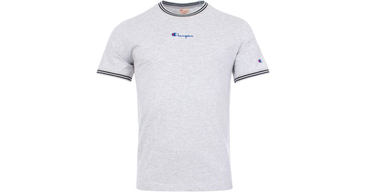 4610caf837fa Champion Striped Ringer Small Script T-shirt in Gray for Men - Lyst