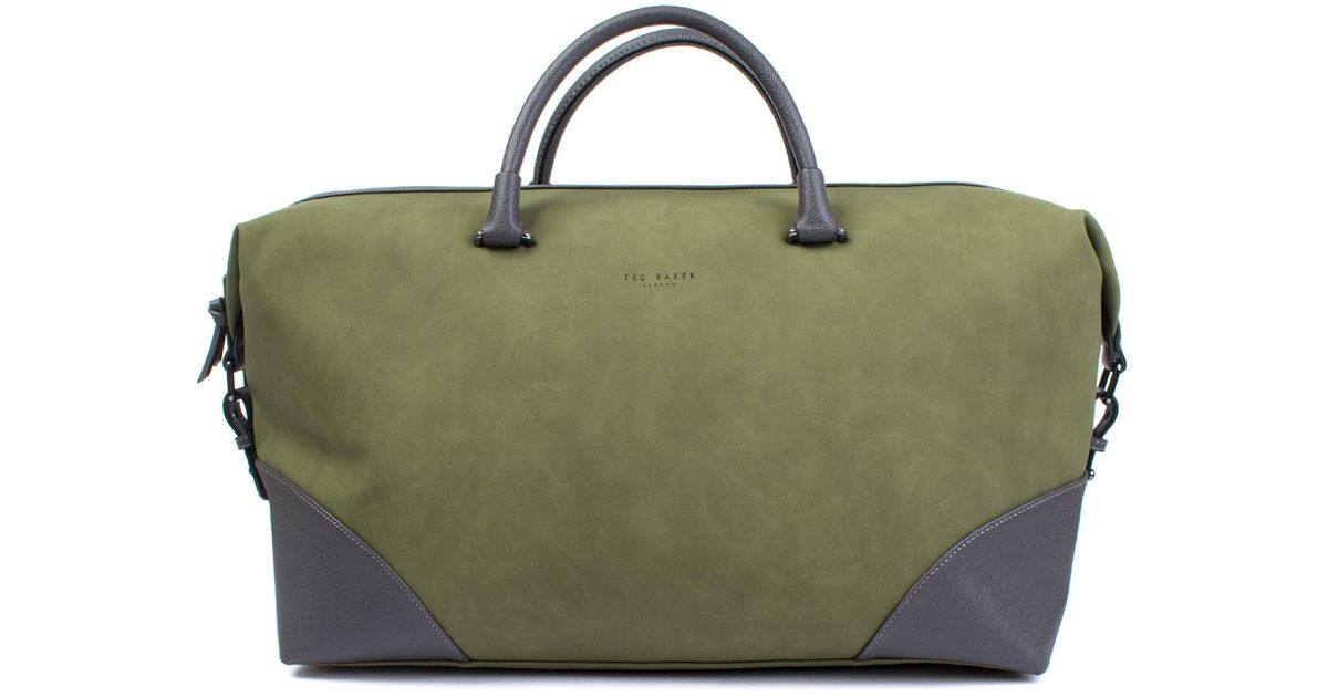 986ac9cf2 Ted Baker Inferno Contrast Corner Holdall in Green for Men - Lyst