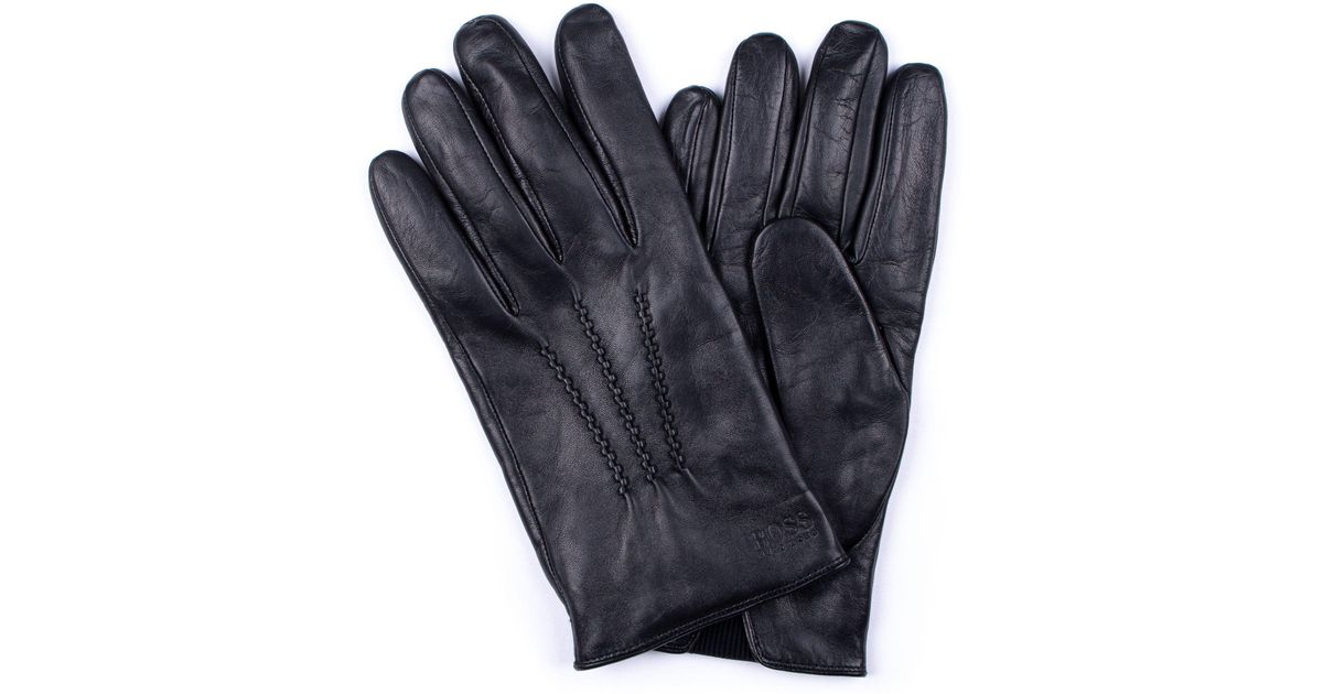6945b932551136 Boss By Hugo Lambskin Na Leather Grifin Gloves In Black For