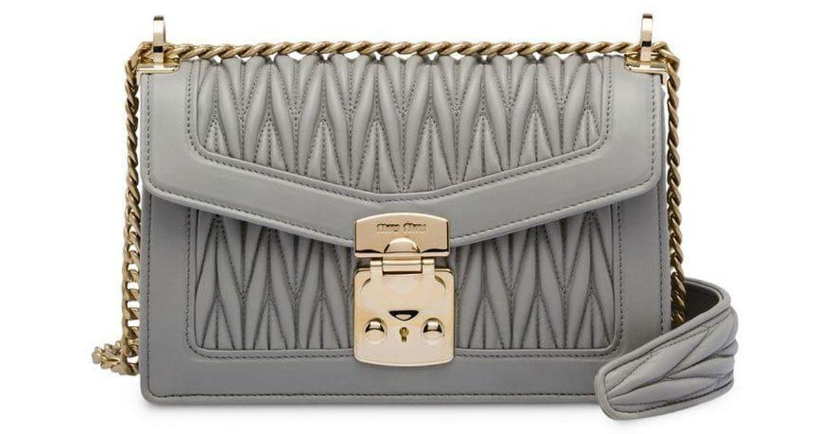 a0c10d4dfe08d Miu Miu Confidential Chain Bag in Gray - Lyst