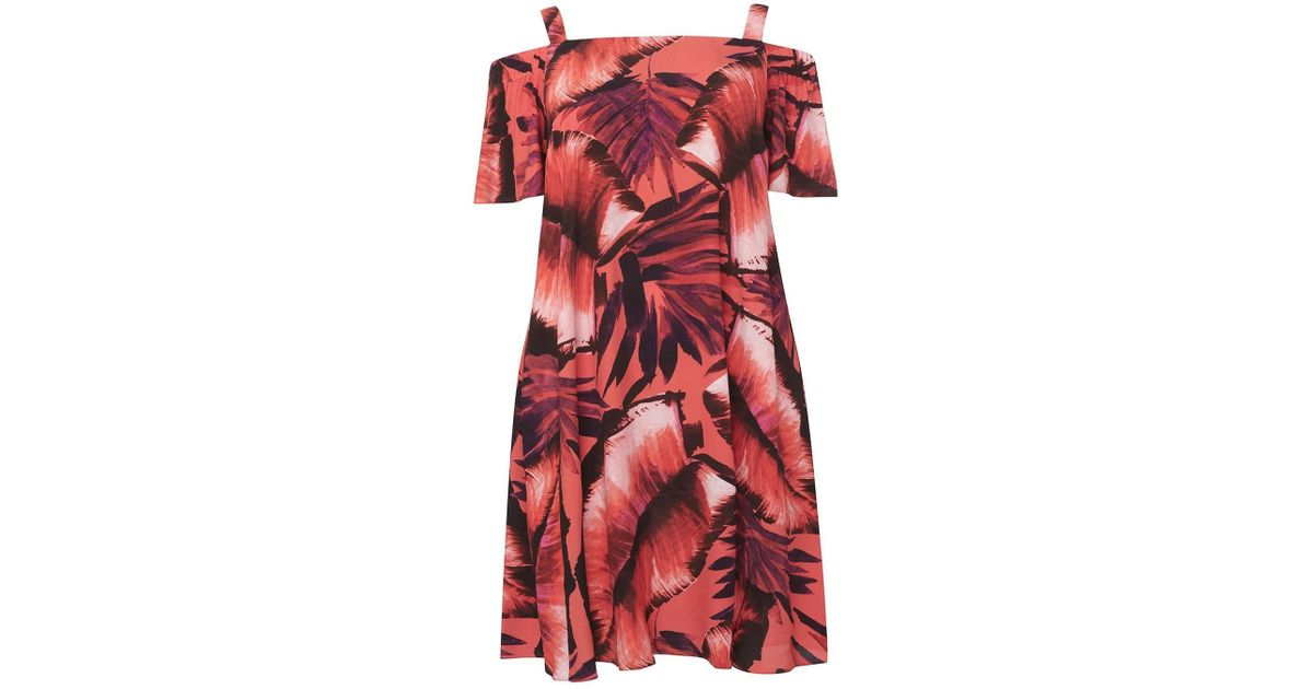6160ca4f9694 Evans **live Unlimited Tropical Print Bardot Swing Dress in Pink - Lyst