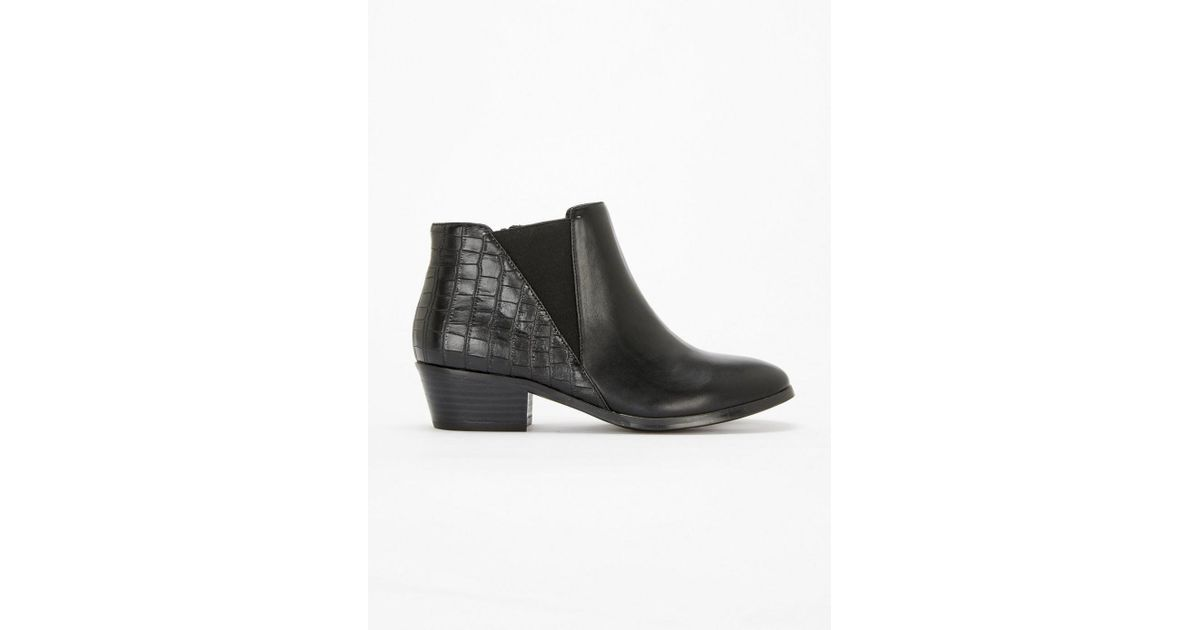 189238725 Evans Extra Wide Fit Croc Back Low Ankle Boots in Black - Lyst