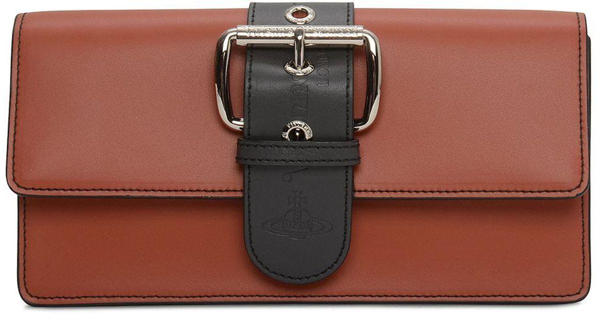 179cb39a448 Vivienne Westwood Alex Buckle Clutch Bag in Orange - Lyst