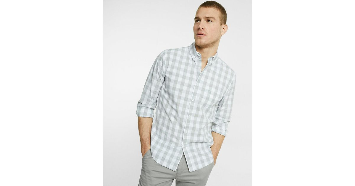 Lyst express soft wash check shirt in gray for men for Express wash roma