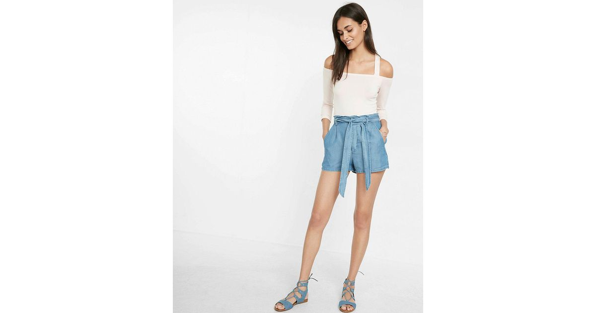Lyst express high waisted soft twill shorts in blue for Express wash roma