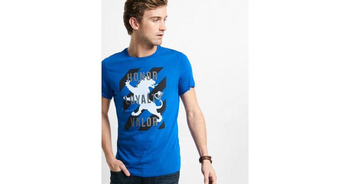 daf59215 Express Blue Honor Loyalty Valor Lion Graphic T-shirt for men
