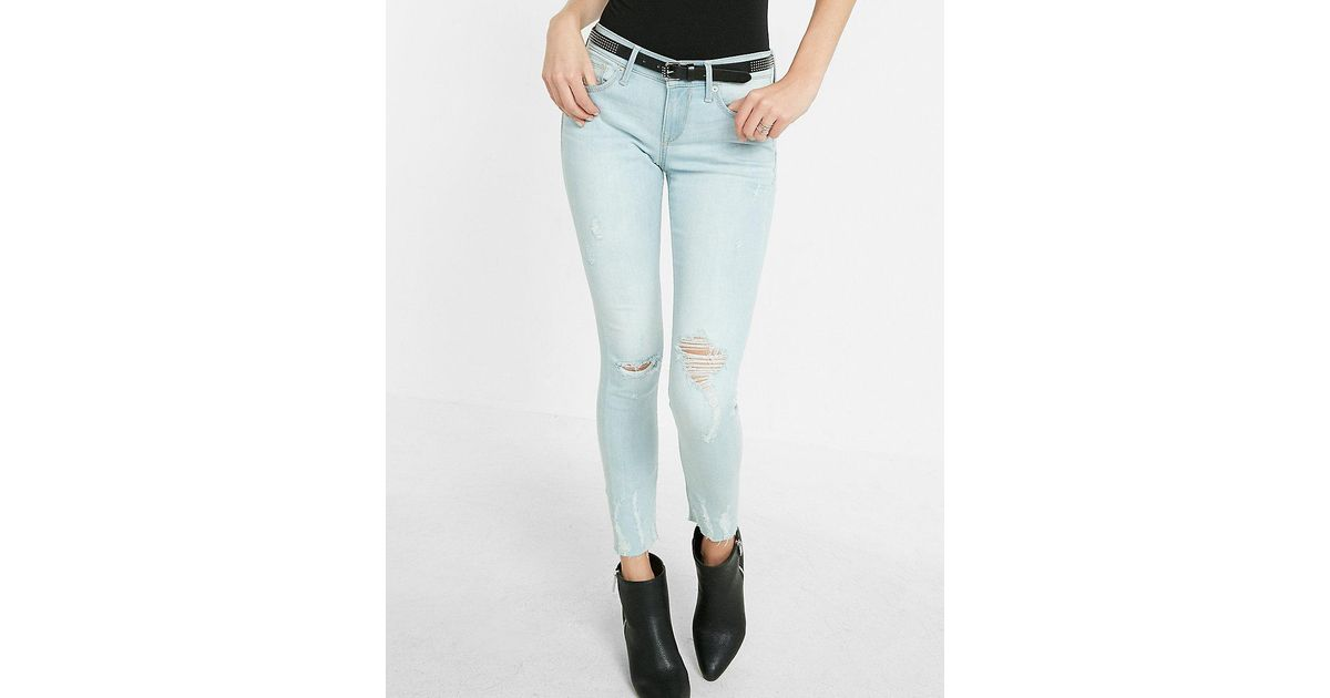 Express mid rise distressed raw hem jean ankle legging in for Express wash roma