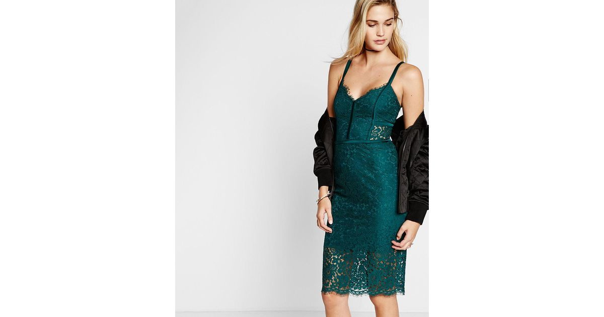 db1f7855 Express Piped Lace Sheath Dress in Green - Lyst