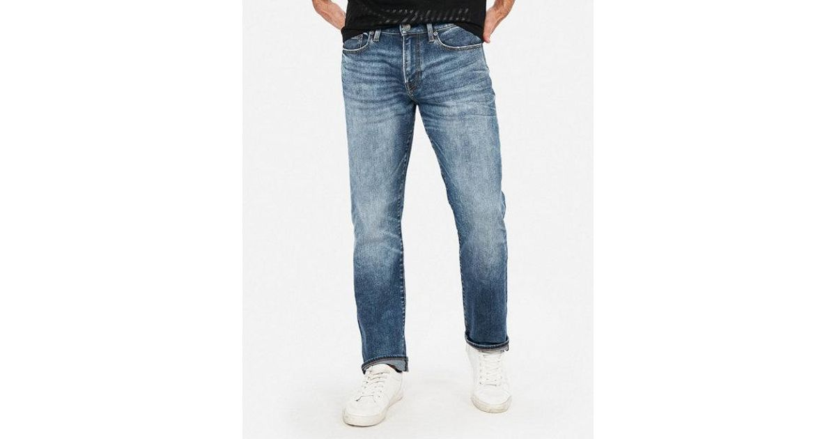 71fc74c4 Lyst - Express Classic Straight Light Wash 365 Comfort Hyper Stretch Jeans  in Blue for Men