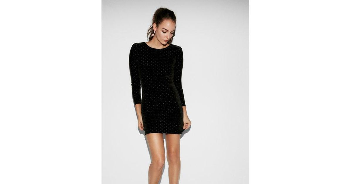 392044f34fb Express Petite Studded Velvet Dress in Black - Lyst