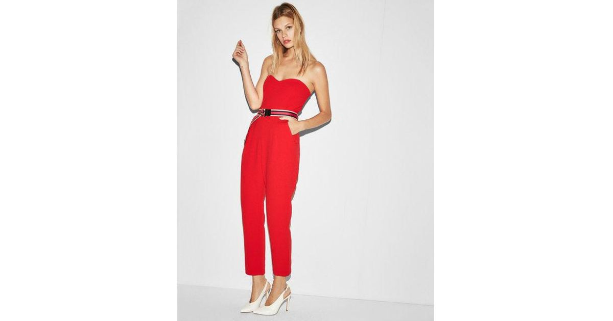 153d3beccc57 Express Petite Strapless Sweetheart Neckline Jumpsuit in Red - Lyst
