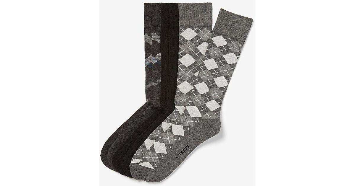 Express 3 Pack Gray Argyle Dress Socks For Men