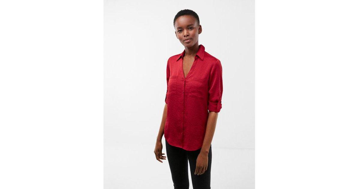 ea0efc1d4c876 Lyst - Express Petite Slim Fit Satin Portofino Shirt in Red