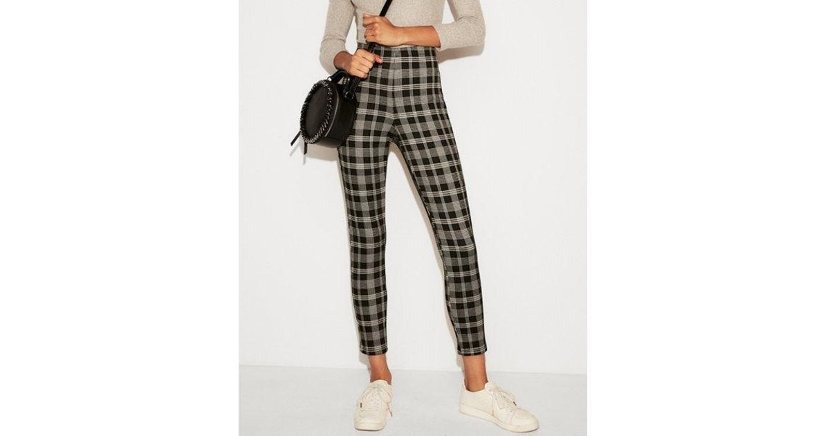cd0a9850d835a Express High Waisted Cropped Plaid Pull-on Leggings in Black - Lyst