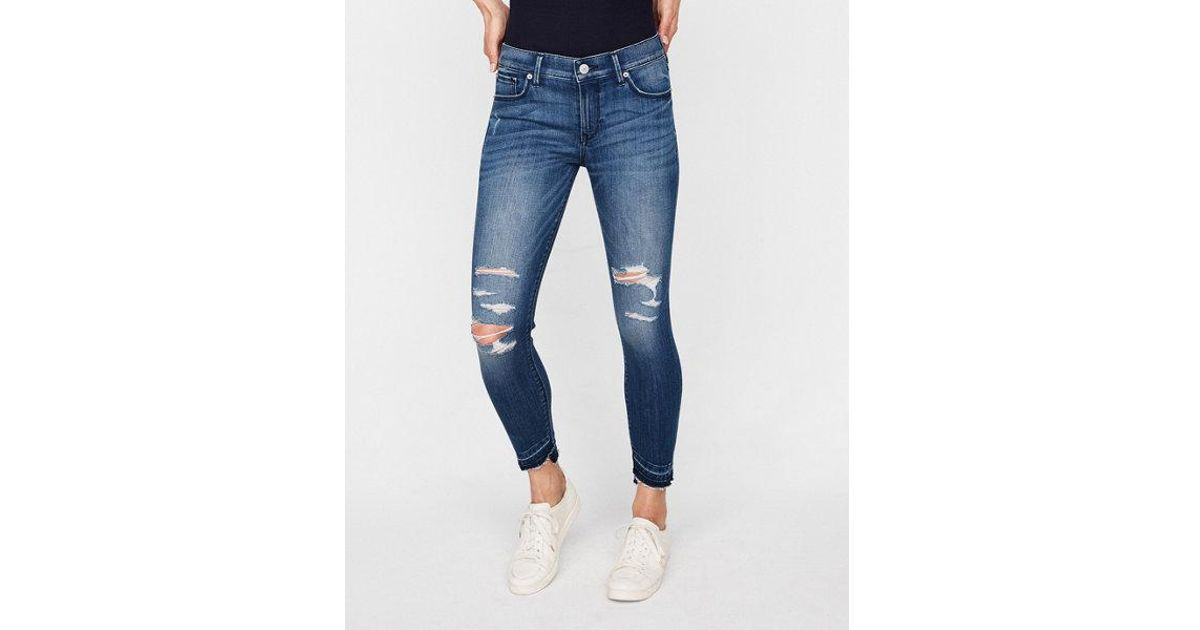 f8ca12dba057e Express Petite Mid Rise Distressed Stretch Cropped Jeggings, Women's Size:0  Petite in Blue - Lyst