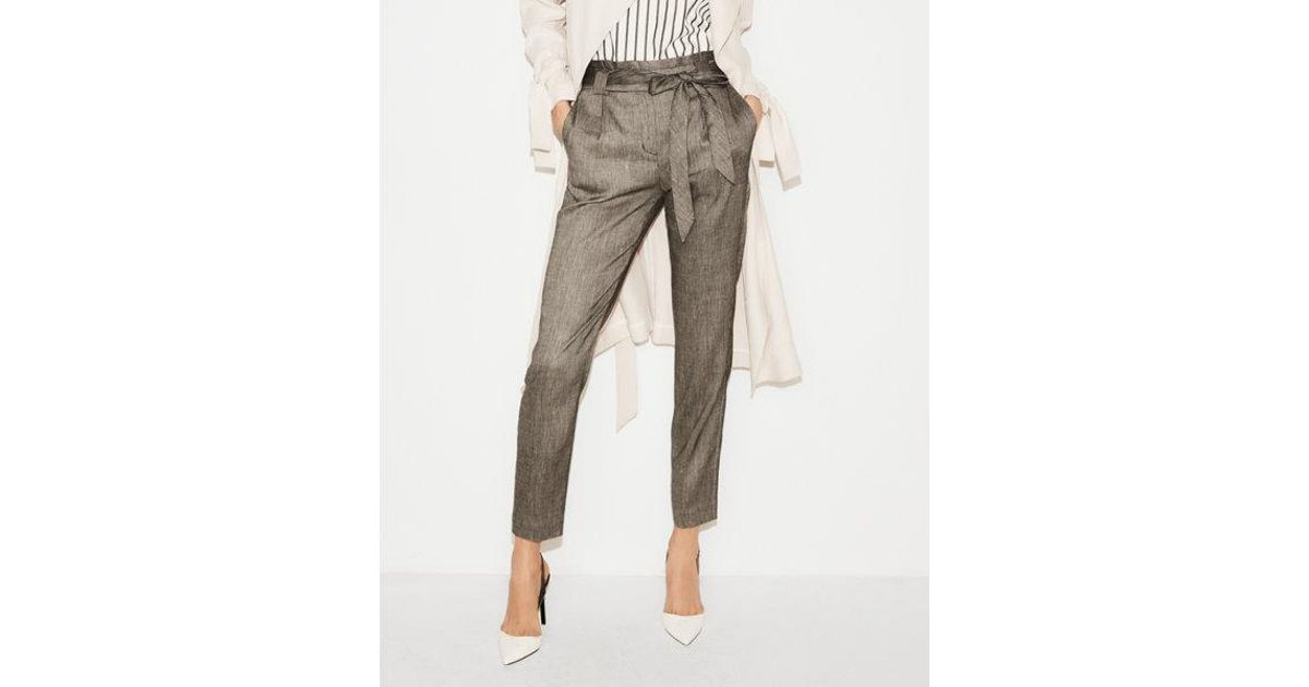 19b03b84708bc4 Express High Waisted Linen-blend Paperbag Ankle Pant in Gray - Lyst