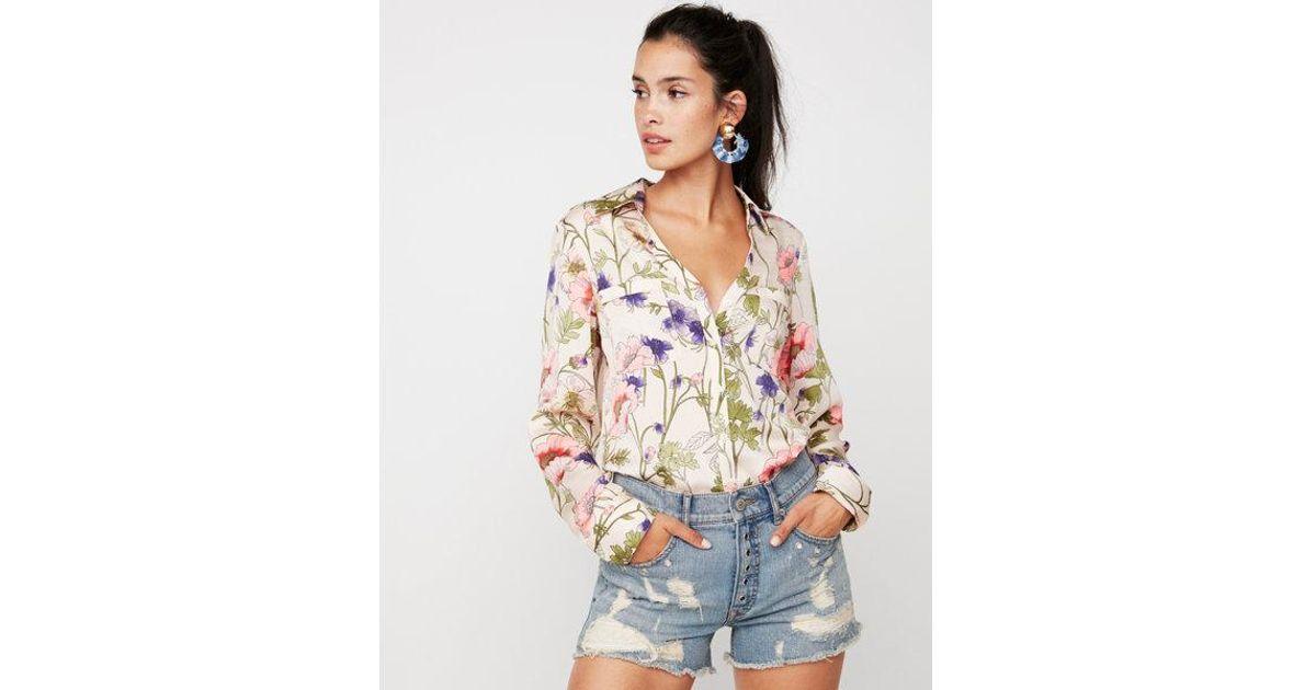c44aeb8718a9b Lyst - Express Petite Slim Floral Satin Portofino Shirt
