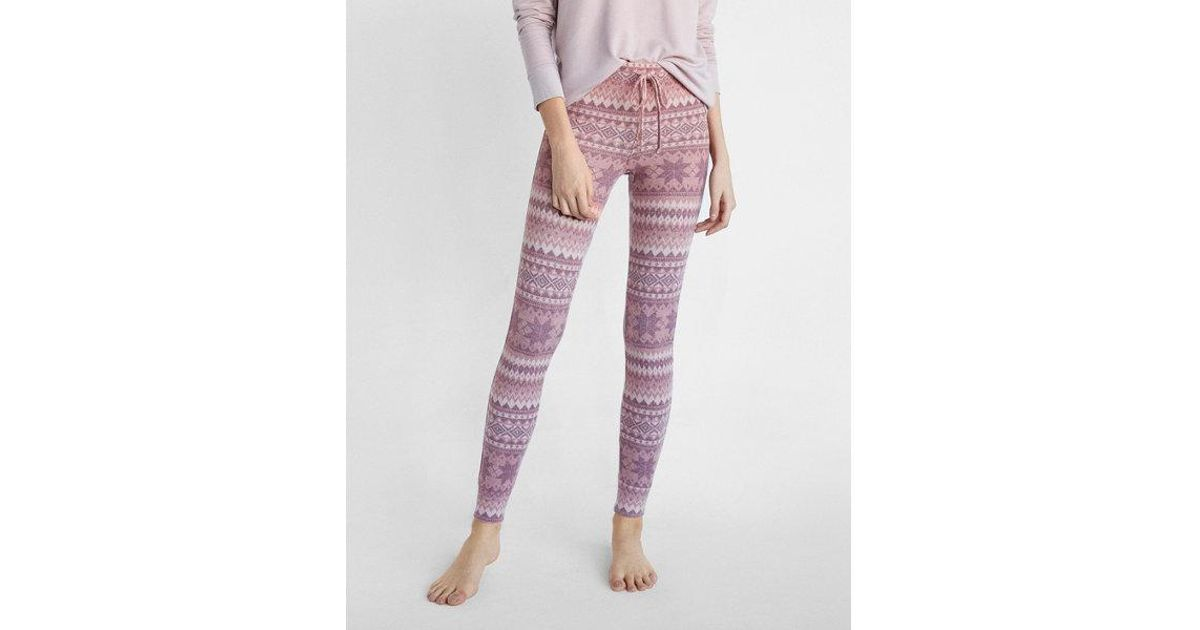 Express Cozy Fair Isle Leggings in Pink | Lyst