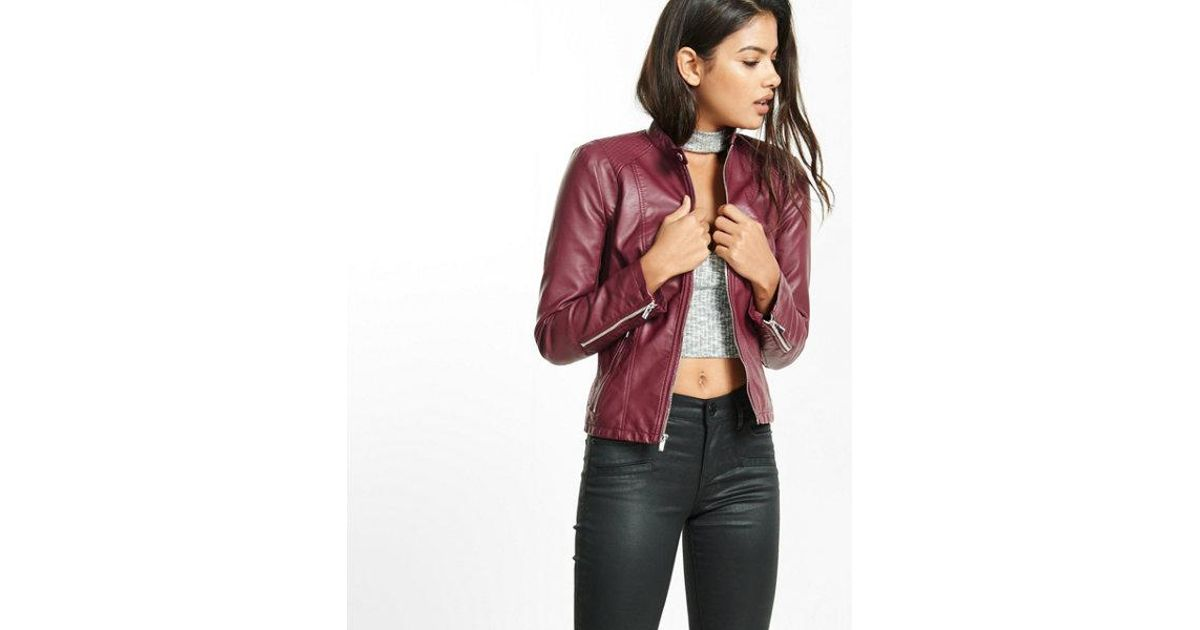 Lyst Express Double Peplum Faux Leather Jacket In Pink