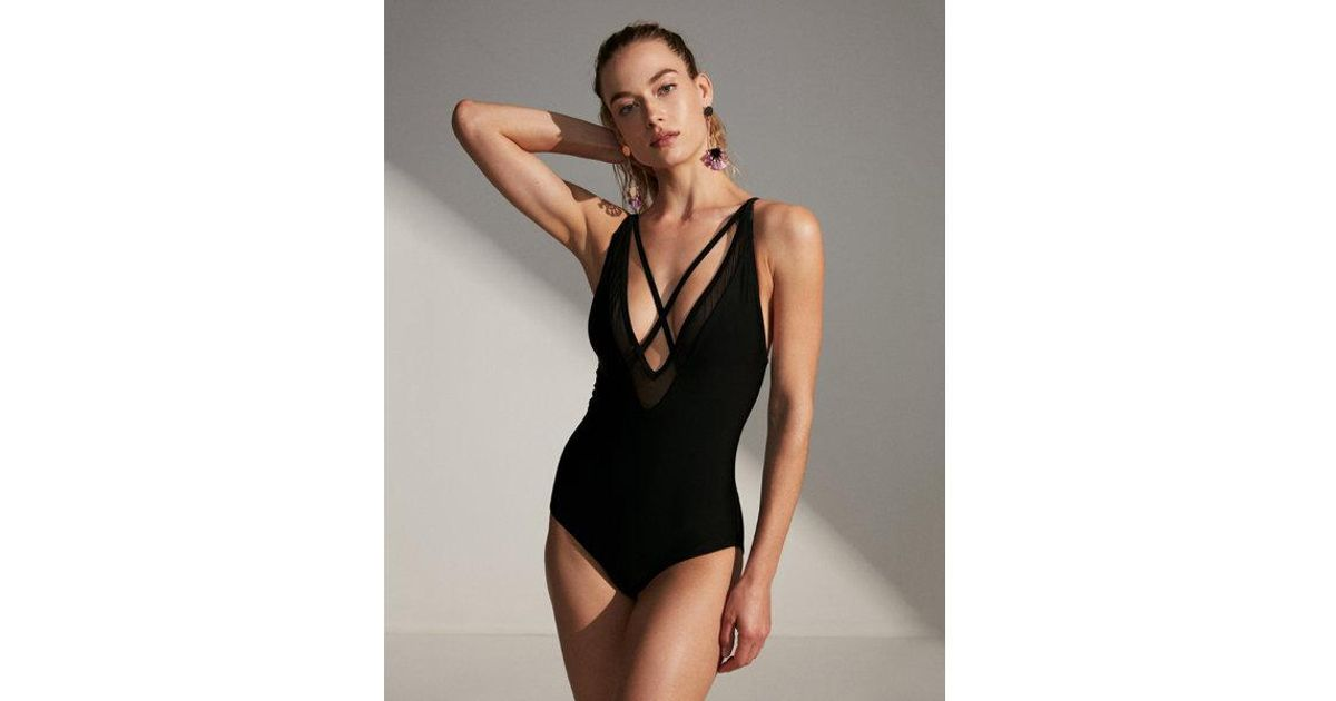 c1fd0c64f48 Express Strappy Plunging One-piece Swimsuit in Black - Lyst