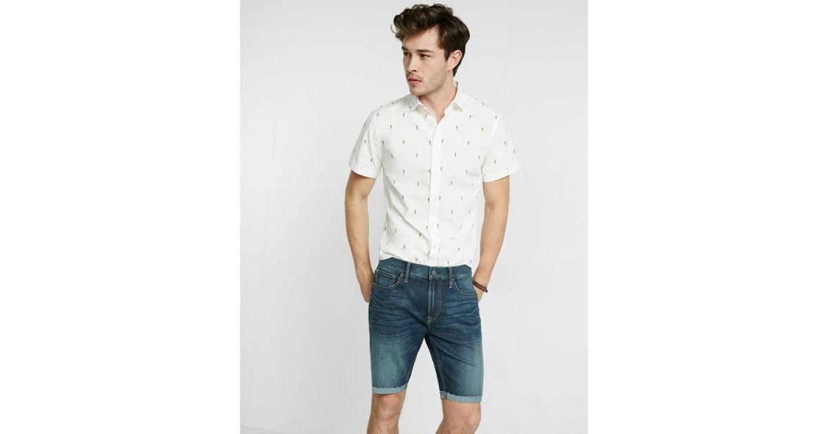 Lyst - Express Eco-friendly Slim Fit 9 Inch Denim Shorts in Blue for Men 4a3b59ded